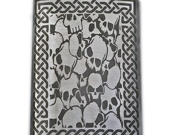 Skulls with Celtic Knotwork Border flask