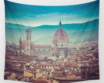 Florence Italy Wall Tapestry, Florence Wall Art, Cityscape Photo Tapestry, Living Room Wall Art, Tuscany, Dorm, Travel Art
