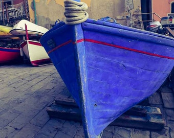 Nautical Photography, Boat Photography, Riomaggiore, Italy, Blue Boat, Nautical Decor, Large Wall Art, Wall Decor