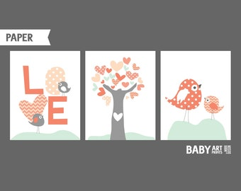 Baby Girl Nursery art prints, Set of 3 11x14. Love, Birds, Tree, Salmon Coral and Pale Mint nursery ( NPHO1114017 )