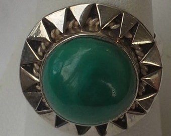 handmade ring Amazonite cabochon crafted sterling silver