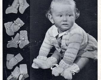 Mittens & Bootees Digital Vintage Knitting Pattern, Bairnswear 1315