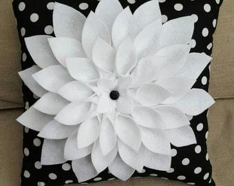 Black and White Polka Dot Felt Flower Pillow