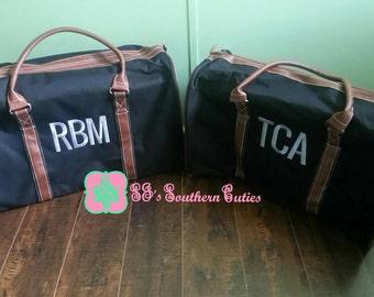 Monogrammed Men's BLACK Duffle Bag Personalized Men's Duffel Bag