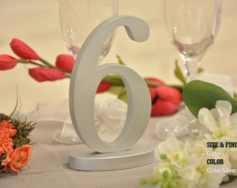 Silver Glitter SET 1-20, Gold Glitter, Wedding Decor, Freestanding Wooden Table Numbers, Wedding Table, 1-20 DIY Wood Table numbers