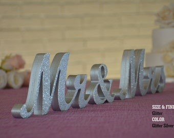 Silver Glitter Mr & Mrs Wedding Signs, Mr and Mrs Wood Wedding Decoration
