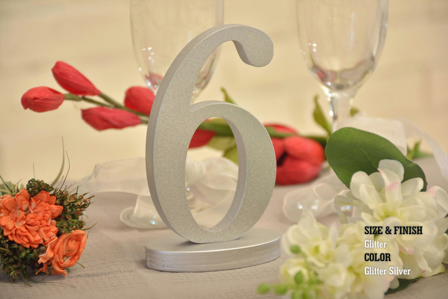 Glitter set 1 20 wedding decor freestanding wooden table for Glitter numbers for centerpieces