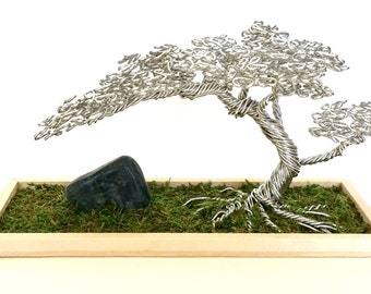 Reclaimed Aluminum Wire Offset Bonsai Tree