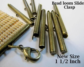End Caps Slider Clasps,1 1/2, Bronze Color, Loom Bead Patterns, Loom Findings, 8 Pack, Fits Size 11 & 8 Beads, Clean and Neat