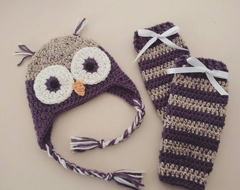Owl Hat and Leg Warmers