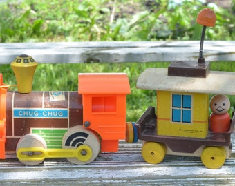 1964 Fisher Price Magnetic Chug-Chug Train #168 Engine and Caboose with Magnet Couplings