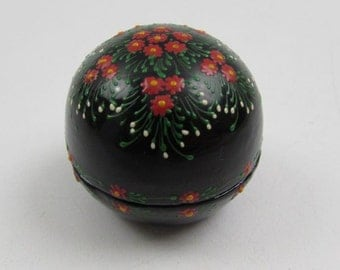 Hand Painted Lacquered Wood Trinket Ring Box