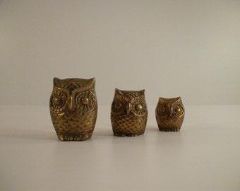 Brass Owls Set of 3