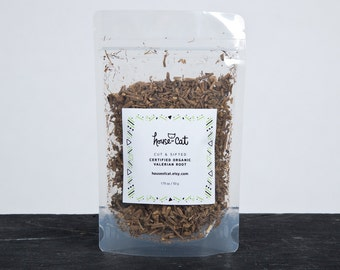 Organic Valerian Root, Dried Cut and Sifted Valerian Herb, Valeriana officinalis, Cat Herbs, Pet Gift, Organic Pet Treats