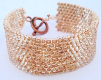 Rose Gold Lined Glass Bead Cuff With Copper Toggle Clasp