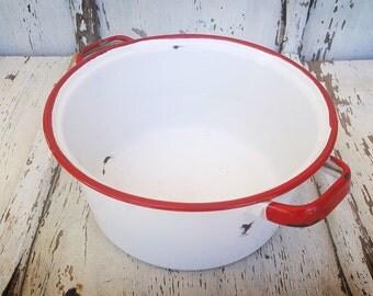 Vintage White Enamel Pot with Red Trim