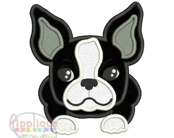 Boston Terrier Puppy Dog Baby Boy -4 sizes 4x4 5x7 6x10 7x12 Applique Design Embroidery Machine -Instant Download File
