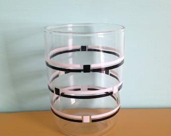 Vintage 1950s 50s black and white stripe geometric tumbler juice glass