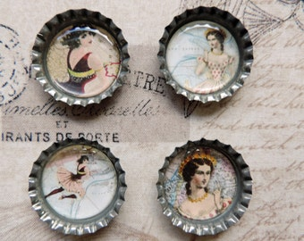 Vintage Ladies, Historical Fashion Bottle Cap Magnets