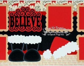 Scrapbook Page Kit Christmas Believe Santa Boy Girl Baby 2 page Scrapbook Layout Kit 112