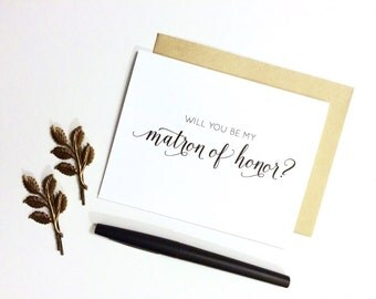 Card - Will You Be My Matron of Honor? | Wedding Party Card, Bridesmaid Card, Bride, Wedding Card, Matron Of Honor Card