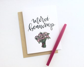 """Hand Lettering Thank You Card - Merci Beaucoup / """"Thank You Very Much"""" 