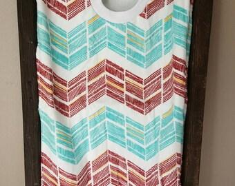 Red and Aqua Chevon Towel Bib