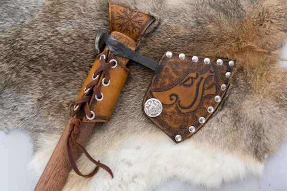 Viking Leather Axe Frog - Belt Axe Hanger - Viking Norse Bushcraft