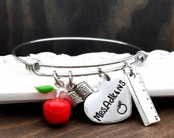 Personalized Teacher Gift - Teacher Bangle Bracelet - Teacher Appreciation - Graduation Gift - End of Year - Teacher - Gift for Teacher