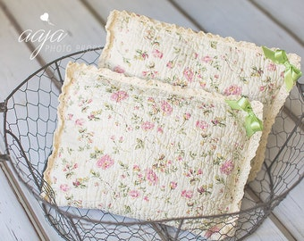 Newborn posing pillow, vintage, floral, cream, lace, photo prop RTS