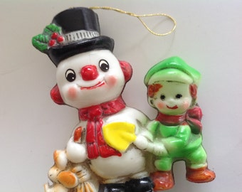 Vintage 70s plastic Frosty the Snowman Christmas tree ornament