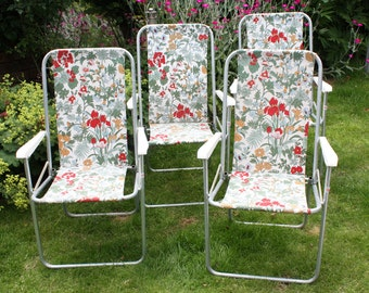 Set of Four Folding, Garden, Camping Deck Chairs, Floral Patterned Fabric