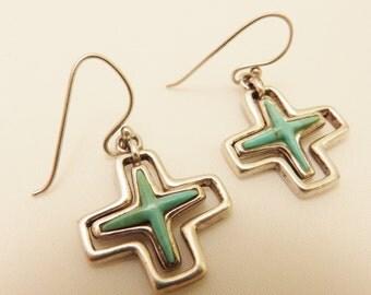 Sterling Silver Turquoise Cross Barse Earrings