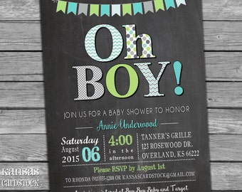 Baby Shower Invitation, Baby Boy Shower, Bunting baby shower, chalkboard, Aqua and lime, DIY Printable
