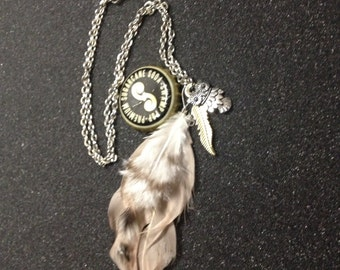 Feather & Owl Charm Necklace 18 inch chain, 4 1/2 inch charm