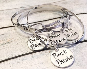 Best friends bracelet - Stainless steel bracelet  - Hand stamped bracelet - Best bitches - Best friends jewelry - Hand stamped jewelry
