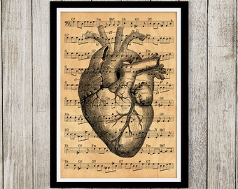Heart poster Macabre art Antique style print Anatomy print NP125