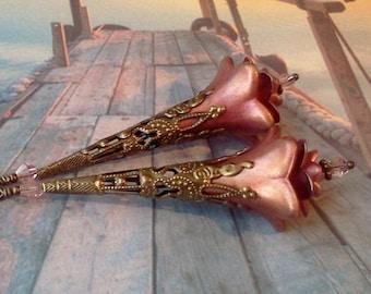 Hand Painted Earrings, Lucite Earrings, Long Earrings, Flower Earrings, Handmade Earrings, Victorian Earrings, Dusty Rose Dangles, Vintage