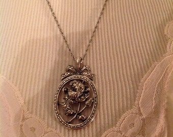 Gift for Grandma.....inscribed on the back...I Love You Grandmother.....Vintage silvertone Cameo