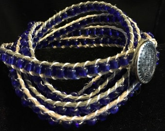 Beaded Wrap Bracelet, cobalt blue, 67