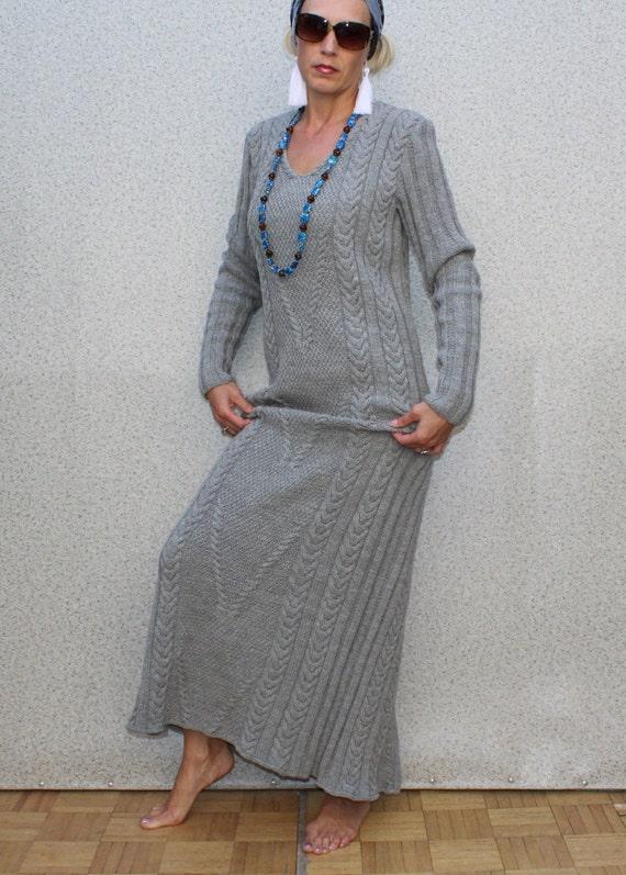 Hand Knit Women dress sweater coat aran jacket women made to