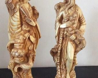 Vintage Oriental Japanese Resin Lady & Gentleman Figurines circa 1930's