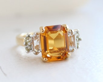 Vintage Light Topaz Ring set with Clear Swarovski Crystals on Two Tone Accent November Birthstone Color Made in USA #R2796