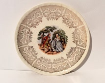 Vintage 1940s Crooksville CR010 Colonial Courting Couple Bread/Desert Plate