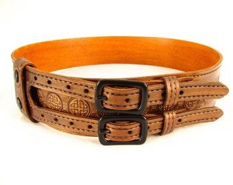 Kilt Belt Double Buckle Belt Copper Belt Circle Celtic Knot Belt