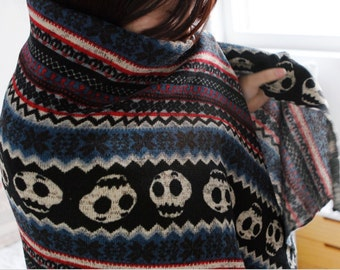 Brushed Sweater Knit Fabric Skull Black