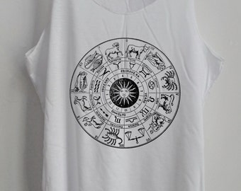 Zodiac Vintage Shirt Art Vintage Tank Top Art T-Shirt Fashion Shirt  Shirt Women Shirt  Women T-Shirt Tunic Top Vest Sleeveless Size S,M,L