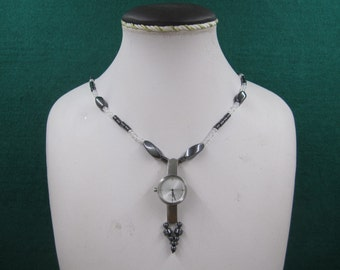 """Silver tone """"Scandia"""" watch necklace"""