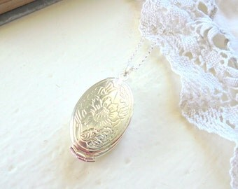 Silver Folding Locket Necklace, Oval Locket, Four Picture Locket, Four Photos