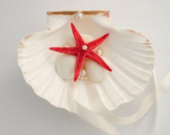 Shell ring holder, Starfish, Beach Ring Holder, Sea shell Ring Bearer, Sea Wedding, Ring Bearer, Beach Wedding, Sea Shell Ring Pillow